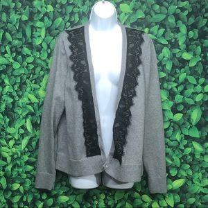 Torrid grey cardigan with black lace